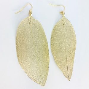 New! Bohemian Leaf Dangle Earrings Gold
